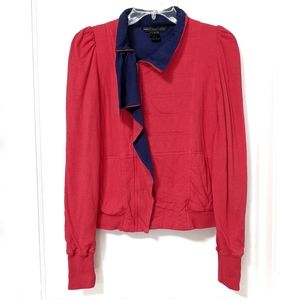 Marc by Marc Jacobs Red Gathered Sleeve Moto sz S
